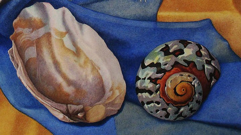 Zama Vanessa Helder (American, 1904-1968), Sea Shells - Blue and Gold, watercolor on paper, signed