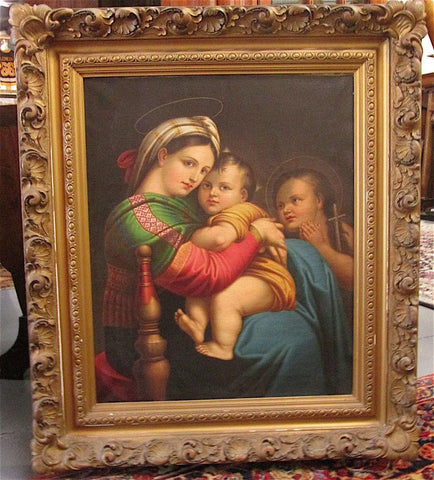 After Raphael (Raffaello Sanzio) (Italian, 1483-1520), Madonna Della Seggiola, oil on canvas, ca. 19th century