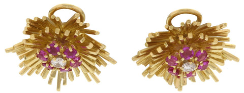 Pair of 18K Yellow Gold, Diamond, and Pink Sapphire Flower Ear Clips, Tiffany & Co., ca. 1960