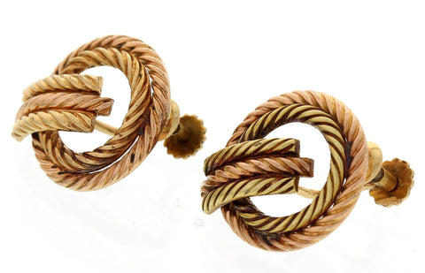 Pair of 14K Rose and Yellow Gold Rope Earrings, Tiffany & Co.