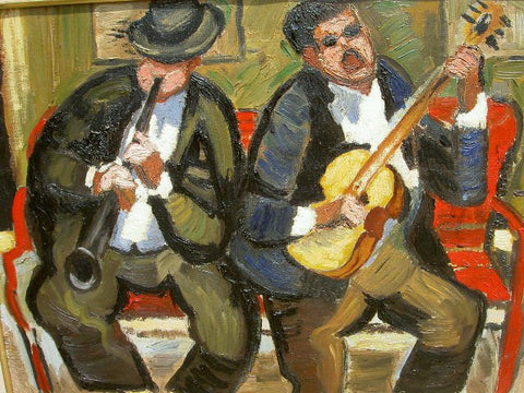 "Raymond Abner (Egyptian/French, 1919-1999), ""Les Vagabonds (Buskers)"", 1945, oil on canvas, signed"