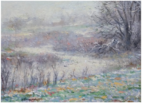 Richard Earl Thompson (American, 1914-1991), Spring Snow, oil on masonite, signed