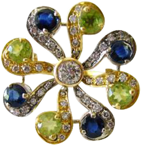 18K Yellow Gold, Peridot, Blue Sapphire, and Diamond Ring, ca. 1970s