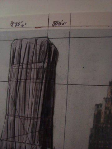 "Christo and Jeanne­ Claude (American, b. 1935), ""Lower Manhattan Wrapped Buildings, Project for 2 Broadway, 20 Exchange Place"", 1990, lithograph in colors, signed, ed. 125"