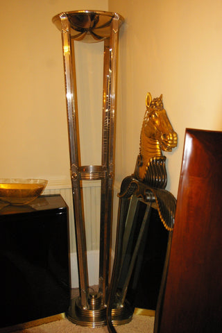 Pair of Art Deco Chrome Torchière Up Lights