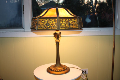 American Gilt-metal and Filigree Overlaid Slag Glass Panel Lamp, ca. 1910