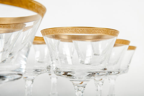 Set of Thirteen French Gilt and Cut Glass Champagne Coupes, ca. 1950s