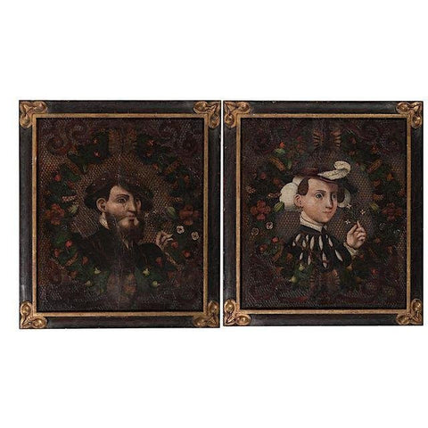 Pair of Continental Wedding Portraits, oil on embossed leather on panel, ca. 17th century, probably German or Italian