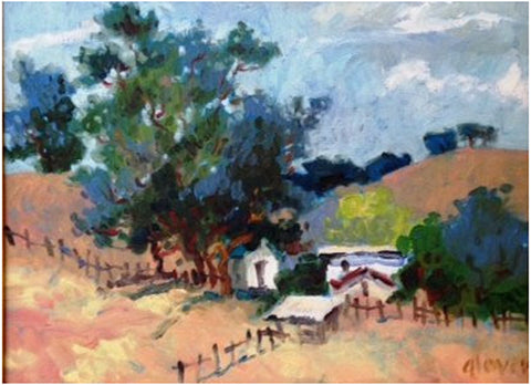 "Pamela Glover (American, 1924-2010), ""Farmland, Contra Costa County"", oil on canvas, signed"