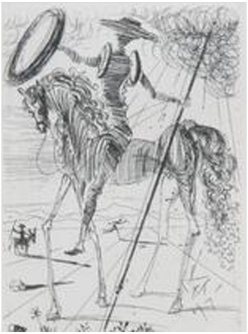After Salvador Dali (Spanish, 1904-1989), Don Quixote, ca. 1970, etching on paper