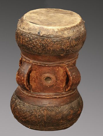 Chokwe Royal Drum, wood, fiber, hide, nails and pigment, Democratic Republic Congo, early 20th century