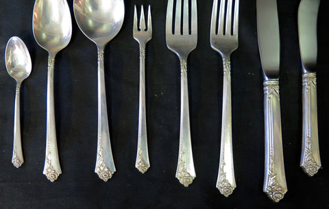 American Art Deco Sterling Silver Flatware, Oneida-Heirloom, in the Damask Rose pattern, introduced in 1946 and discontinued in 2004