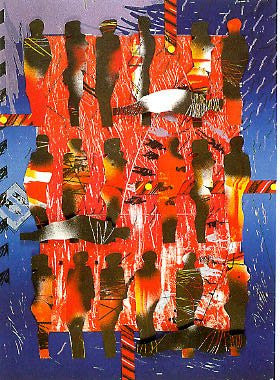 John T. Scott (American, 1940-2007), Blues for the Middle Passage II, 1988, mixed media lithograph and collage, signed, ed. 27