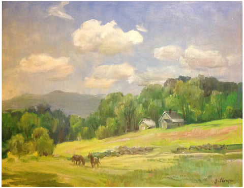 "George Cherepov (American/Lithuanian, 1909-1987), ""Pastoral, Vermont"", oil on masonite, signed"