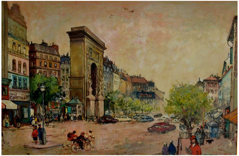Anton Jancsek (Hungarian, 1907-1985), Busy Street in Paris, oil on canvas, signed