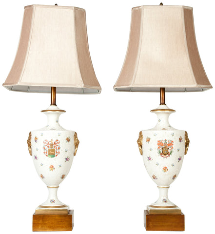Pair of Continental Porcelain Lamps with Giltwood Bases