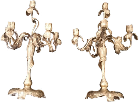 Pair of German Art Nouveau Silver and Silver-Plated Six-Light Candelabra, maker's mark M&S, ca. 1900, the bases 800 standard silver, the branches silver-plated