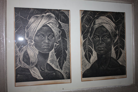Margaret Brundage (American, 1900-1976), Portrait of a woman and a man, possibly Caribbean, 1957, two woodcuts