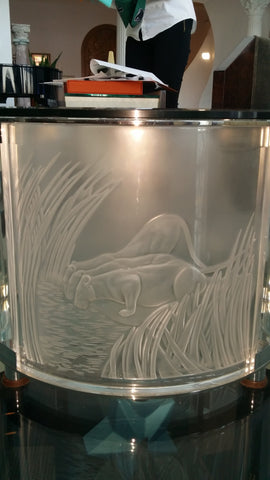 "Lalique ""Three Lionesses"" Molded Glass Table, France, designed ca. 1990s, signed"
