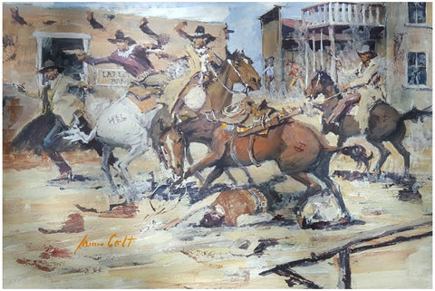 "James Colt (American, 1922-2005), ""The Fall of the Cattlemen"", 1992, gouache on paper, signed and dated"