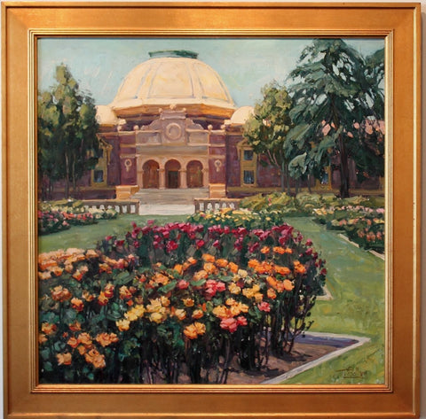 Tim Solliday (American, b. 1952), Rose garden, Exposition Park, Los Angeles, oil on canvas, signed