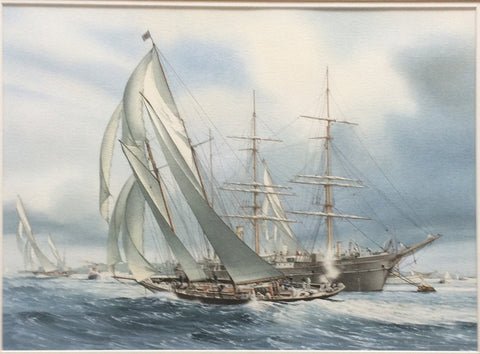William Henry Bishop (British, born 1942), The 'Rainbow', 'Brynild' and 'Valkyrie' racing at Cowes in 1907, watercolor on paper, signed
