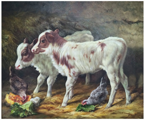 "Gaston Dubois (Argentine/French, 20th century), ""Calves"", oil on canvas, signed"