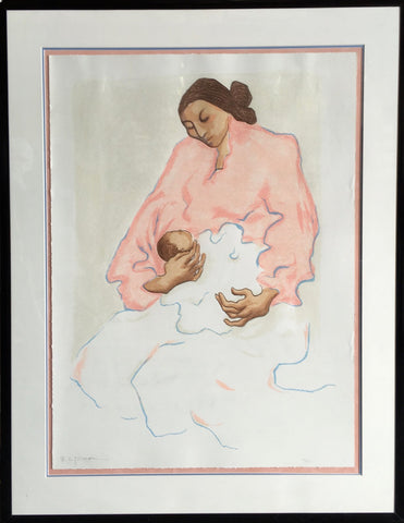 R.C. Gorman (Native American/Navajo, 1931-2005), Navajo Mother and Child, 1977-78, lithograph, signed