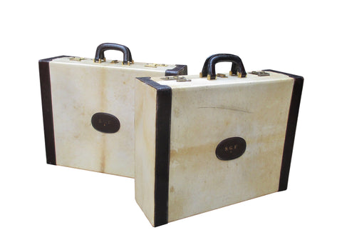 Two Hardsided Parchment and Leather Trim Suitcases, ca. 1940s
