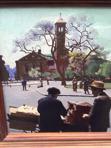 "Robert Knight Ryland (American, 1873-1951), ""In Washington Square"", 1946, oil on canvas, signed and dated"