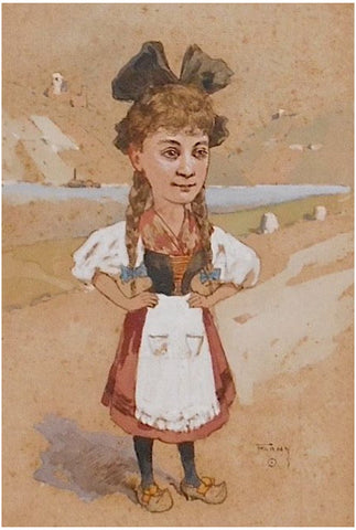 Henry François Farny (American, 1847-1916), Girl, possibly Alice in Wonderland, ca. 1880, gouache and ink on paper, signed