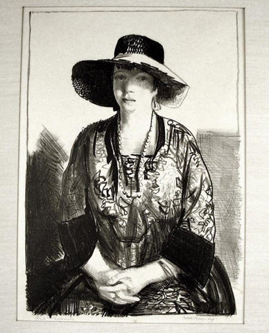 "George Bellows (American, 1882-1925), ""The Black Hat (Emma in a Black Hat)"", 1921, lithograph, signed, ed. of 55"