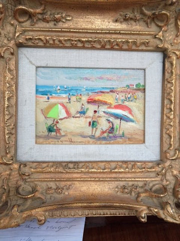 "Wayne Morrell (American, 1923-2013), ""Rockport Front Beach"", oil on board, signed"