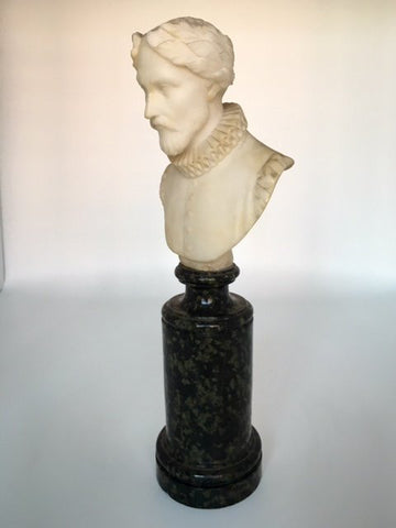 Carved Alabaster Bust of an Elizabethan Hero, possibly Victorian, 19th century