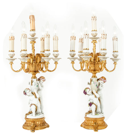 Pair of French Porcelain and Gilt Brass Candelabra, 20th century