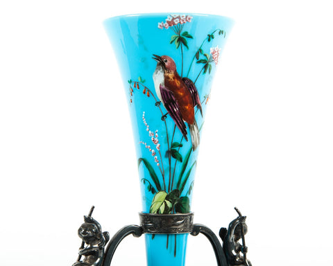 American Silver-Plated Centerpiece with Hand-Painted Glass Insert, Meriden Britannia Co.,  late 19th century