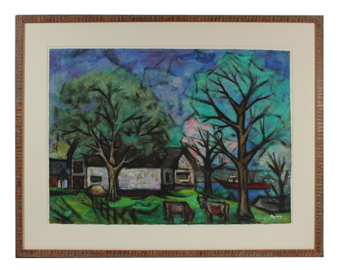 "Byron Randall (American, 1918-1999), ""House with Trees, Cows, and Boats"", 1955-56, oil on paper, signed"