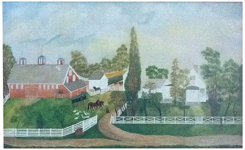 American School (Late 19th Century), Folk Art Landscape, oil on canvas