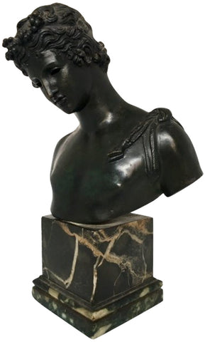 Bronze Bust of Narcissus, after the Antique, 19th century