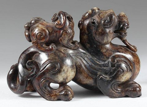 Archaistic Brown Jade Carving of a Bixie and Young, Chinese, 20th century