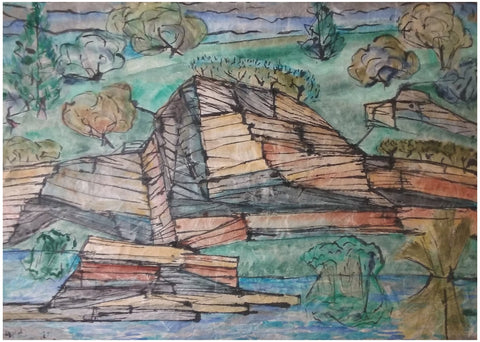 Bill Bomar (American, 1919-1991), Rock Strata, watercolor on textured paper, signed