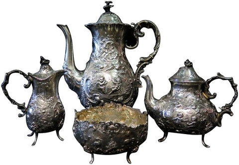 German Silver Four Piece Tea and Coffee Set, late 19th century, .800 standard