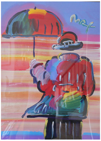 Peter Max (American, b. 1937), Umbrella Man, 1999, mixed media with acrylic and color lithography on paper, signed