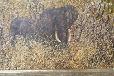 Michael Ghaui (Tanzanian, b. 1950), Untitled (Elephants), 1982, oil on canvas, signed and dated