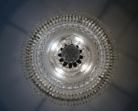 Pair of American Empire Style Cut Glass Chandeliers, by Charles Winston, 20th century