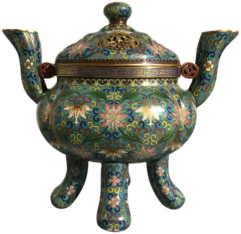 Chinese Cloisonné Enamel and Gilt Bronze Censer and Cover, ca. 1970