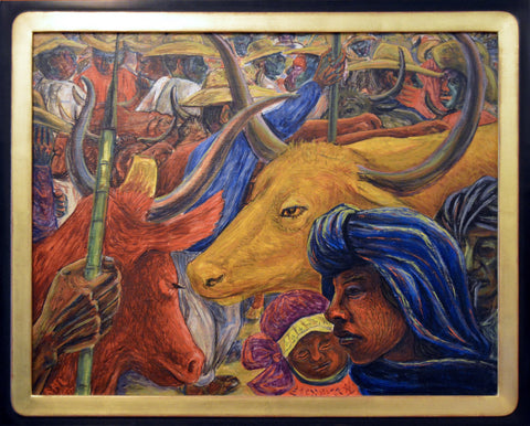"Rodolfo Morales (Mexican, 1925-2001), ""Ganaderos"", 1956, oil on board, signed"