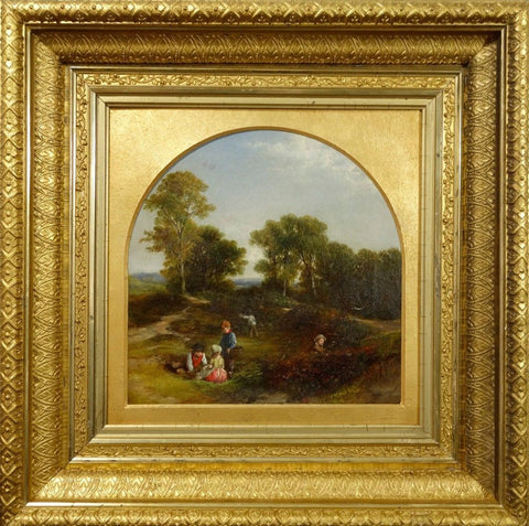 English School (19th century), Landscape with figures, oil on canvas
