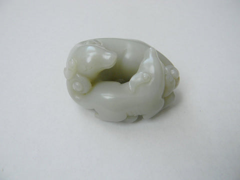 A Pale Celadon Jade Double Badger Group, Qing dynasty or earlier