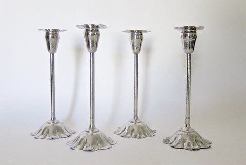 American Silver-plated Copper Floriform Candlesticks, Marie Zimmermann (1879-1972), ca. 1915